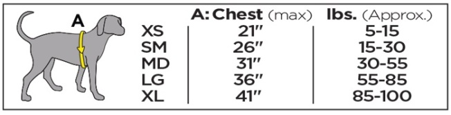 Outward Hound ThermoVest Size Chart